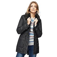 Maine New England - Black faux fur collar coat