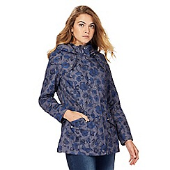 Maine New England - Grey and navy floral print fleece lined shower resistant parka coat