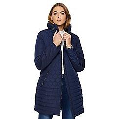 Maine New England - Navy faux fur collar coat