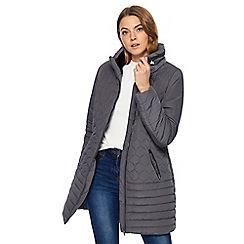 Maine New England - Grey faux fur collar coat