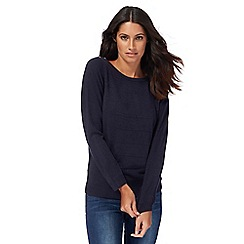 Maine New England - Navy ripple stitch jumper