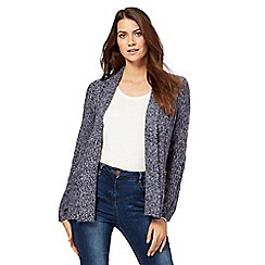 Maine New England - Dark blue textured cardigan