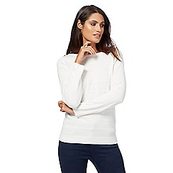 Maine New England - Ivory ripple stitch pearl appliqu  jumper