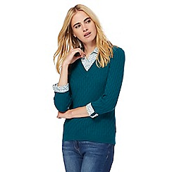 Maine New England - Turquoise cable knit 2-in-1 jumper