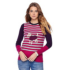 Maine New England - Purple dog knit jumper