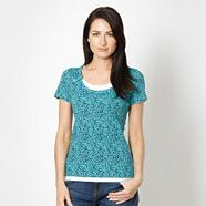 Turquoise scatter scoop neck top
