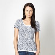 Navy scatter scoop neck top