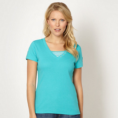 Maine New England - Turquoise striped V neck t-shirt