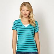 Turquoise striped V neck t-shirt