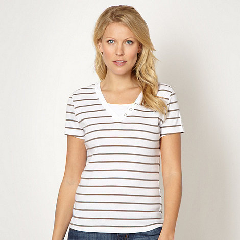Maine New England - Taupe striped V neck t-shirt