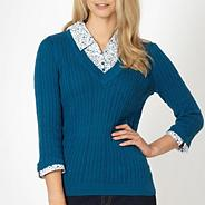 Turquoise mock collar cable knit jumper