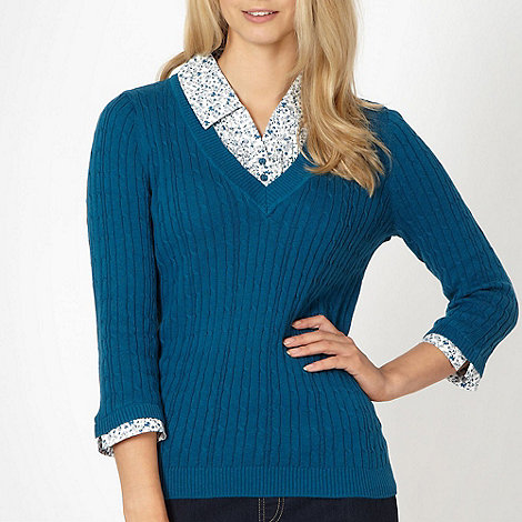 Maine New England - Turquoise mock collar cable knit jumper
