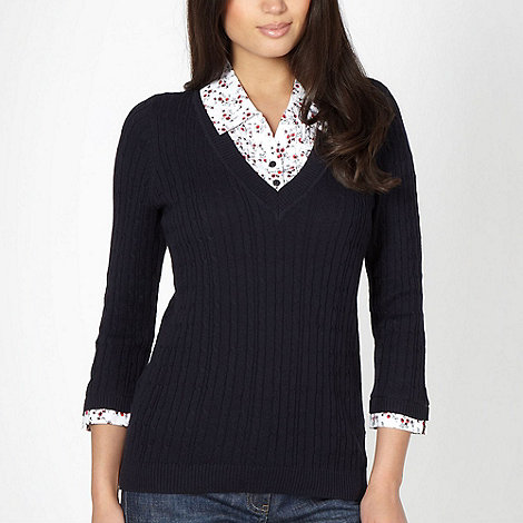 Maine New England - Navy mock shirt jumper