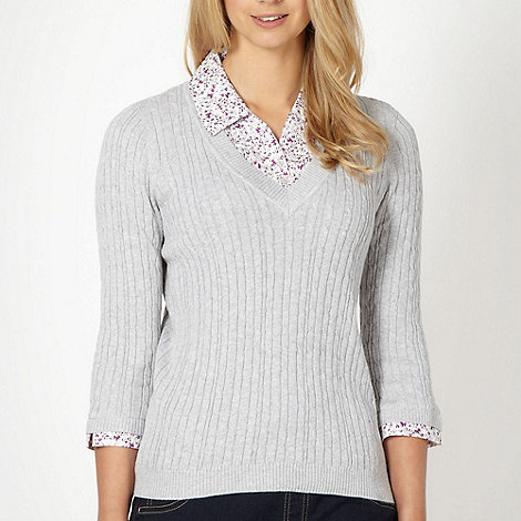 Maine New England - Light grey mock collar cable knit jumper