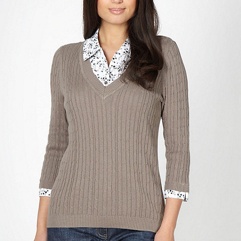 Maine New England - Taupe mock shirt jumper