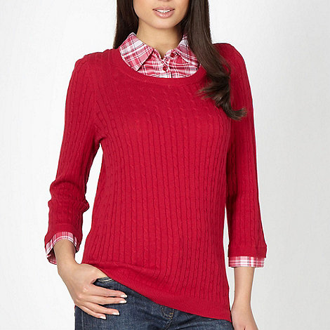 Maine New England - Dark pink shirt collar cable knit jumper