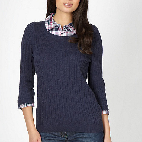 Maine New England - Navy shirt collar cable knit jumper