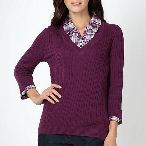 Maine New England - Purple cable knit shirt collar jumper