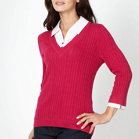 Maine New England - Bright pink cable knit shirt collar jumper