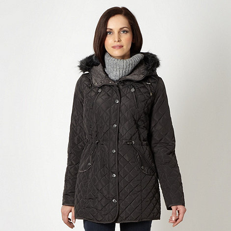 Maine New England - Dark grey hooded quilted jacket