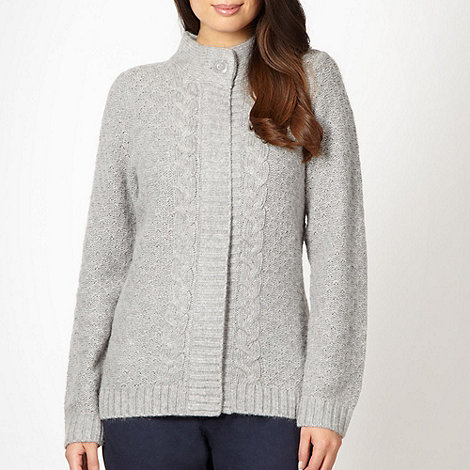 Maine New England - Grey cable knit zip through cardigan