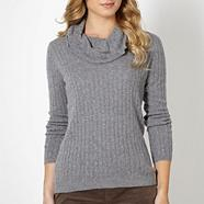 Grey cable knit cowl neck jumper