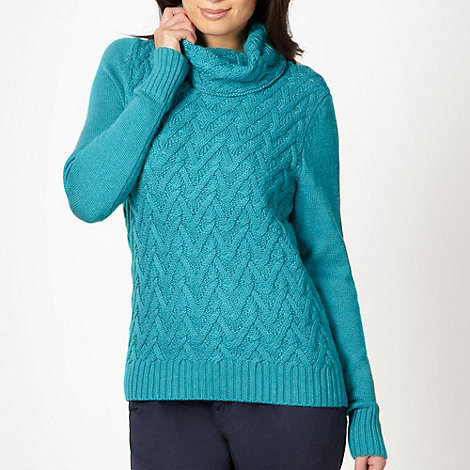 Maine New England - Turquoise weave knit cowl neck jumper
