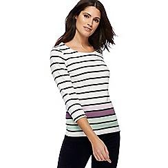 Maine New England - Off white stripe print top