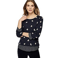 Maine New England - Navy floral print mock layered top
