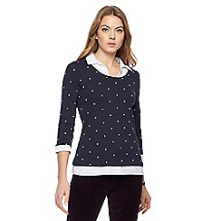 Maine New England - Navy embroidered spot mock shirt top