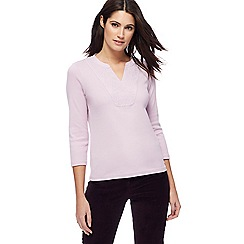 Maine New England - Lilac embroidered notch neck top