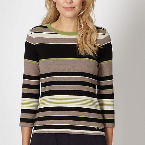 Maine New England - Black striped button jumper