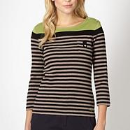 Beige striped button jumper