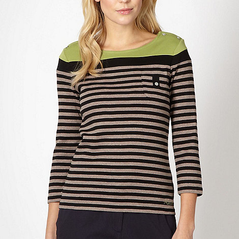 Maine New England - Beige striped button jumper