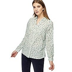 Maine New England - Pale green floral print shirt