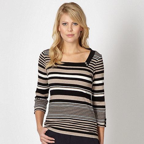 Maine New England - Black striped square neck top