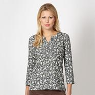 Taupe frill button floral top