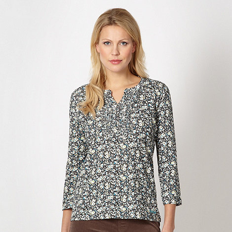 Maine New England - Taupe frill button floral top