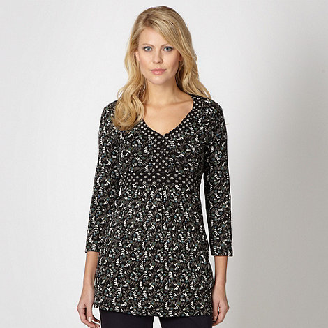 Maine New England - Black ditsy floral tunic