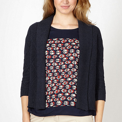 Maine New England - Navy diamond knit cardigan