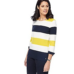 Maine New England - Bright yellow block striped top