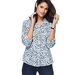Maine New England - Light blue floral print shirt