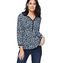 Maine New England - Navy floral print notch neck top