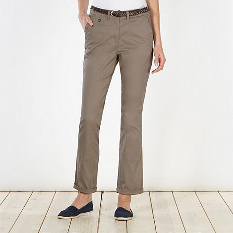 Maine New England - Taupe belted chinos