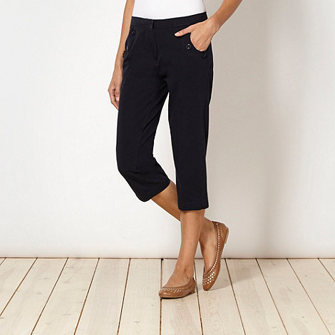 Maine New England - Navy button detail cropped trousers
