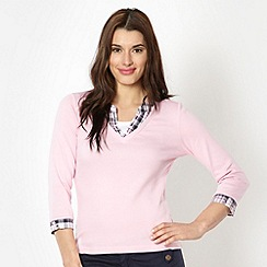 Maine New England - Light pink checked mock collar top
