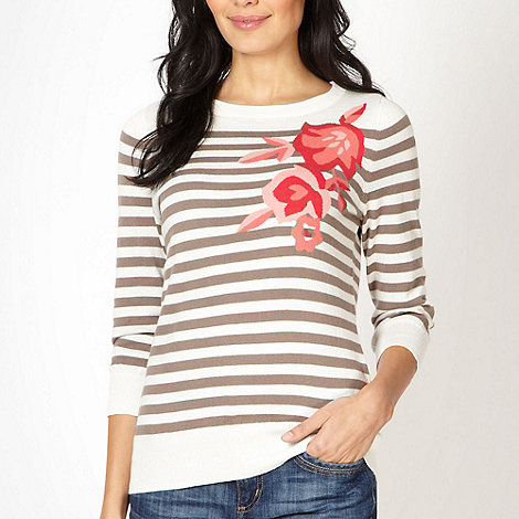 Maine New England - Natural striped floral jumper