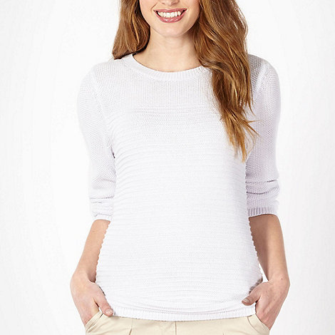 Maine New England - White plain rib jumper