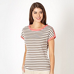 Maine New England - Taupe striped button shoulder top