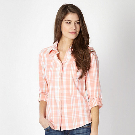 Maine New England - Peach checked floral trim shirt